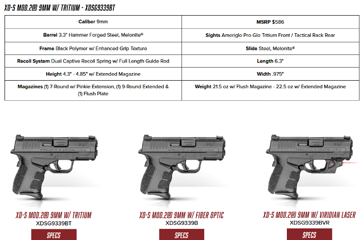 Springfield XD-S Mod 2 now available in 9mm | The Leading